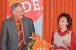 Lothar Köster gratuliert Ingrid Vornberger zu 40 Jahren Mitgliedschat. Mehr als 25 jahre wirkt sie als Schriftführerin und somit Chronistin der SPD in Kempten.