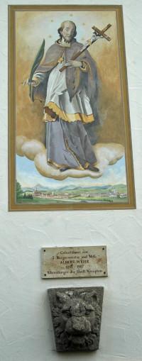 Votivbild, Gedenktafel und Löwenkopf am Geburtshaus von Albert Wehr